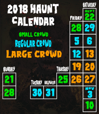 raleigh area haunted attraction calendar
