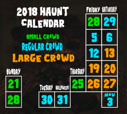 Haunted House Times and Dates