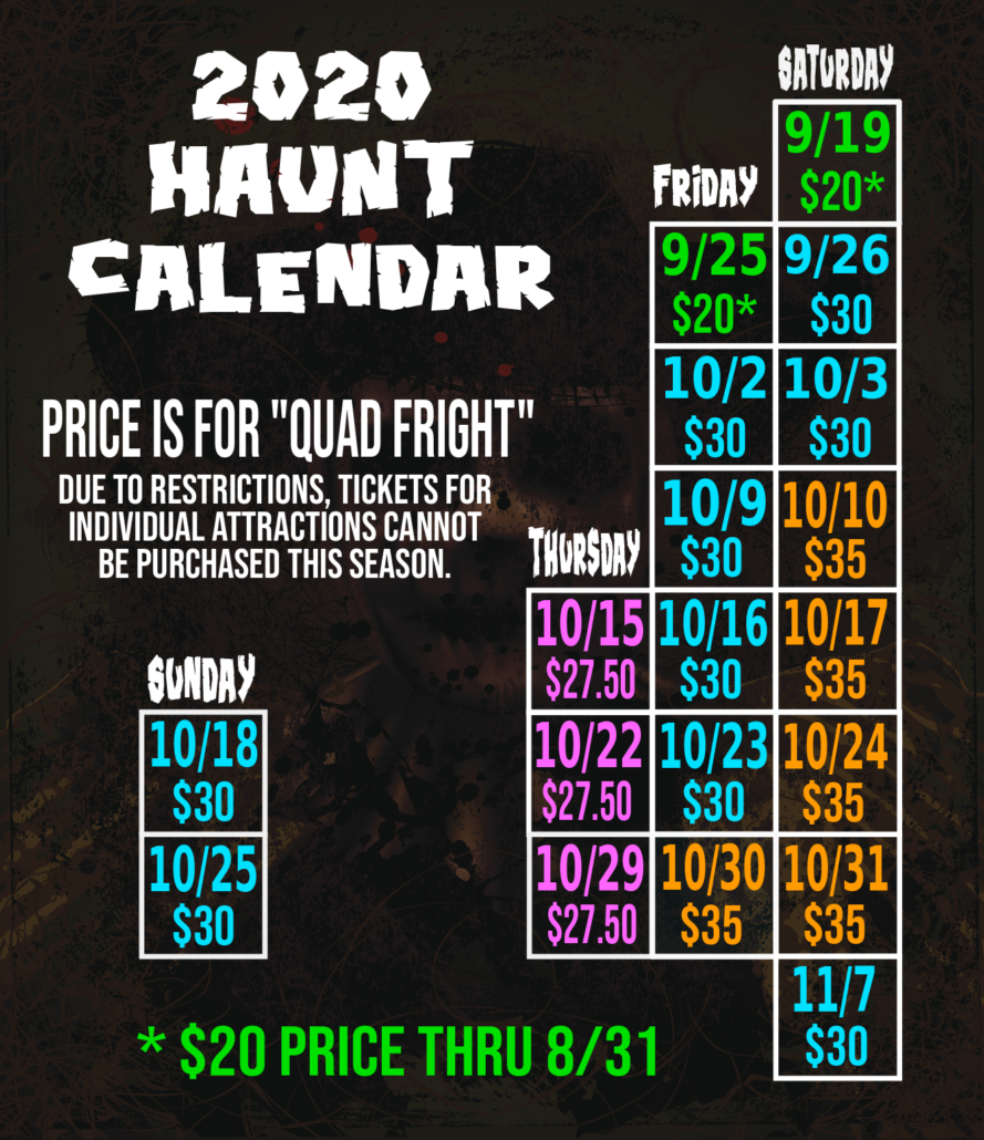 Haunted Forest at Panic Point Calendar 2020